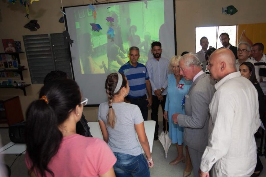 The Prince of Wales and Duchess of Cornwall meeting Camera Chica participants in Cuba