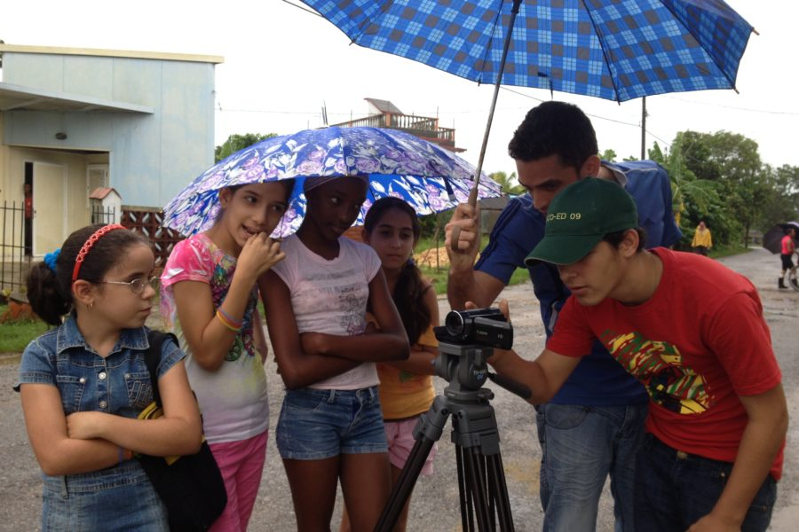 Photo of a film crew of young people in Cuba