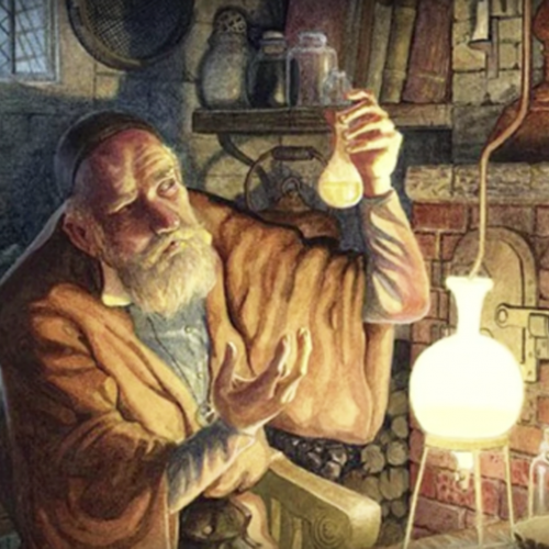 alchemist looking at potion