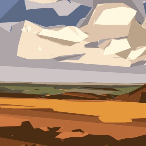 Image of a digitally created landscape with sand and mud coloured strata next to green, grey, white and blue shapes